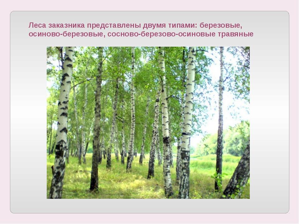 Леса заказника представлены двумя типами: березовые, осиново-березовые, сосн...