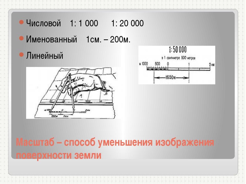 Масштаб – способ уменьшения изображения поверхности земли Числовой 1: 1 000 1...