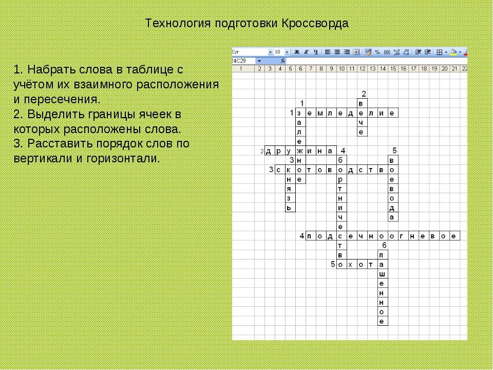 Технология подготовки Кроссворда 1. Набрать слова в таблице с учётом их взаим...