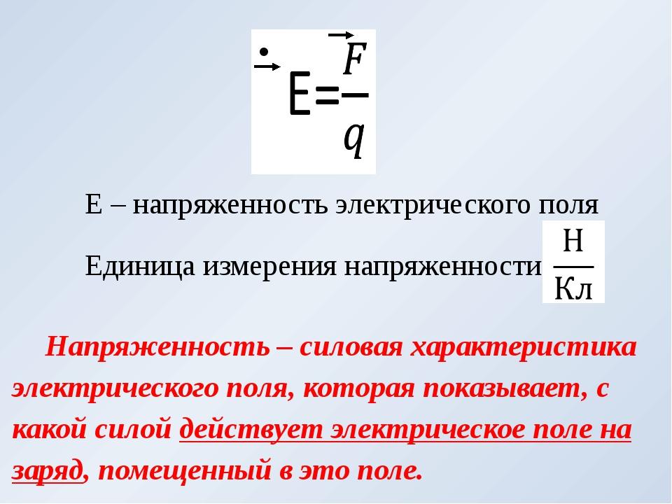 Е – напряженность электрического поля Единица измерения напряженности Напряже...