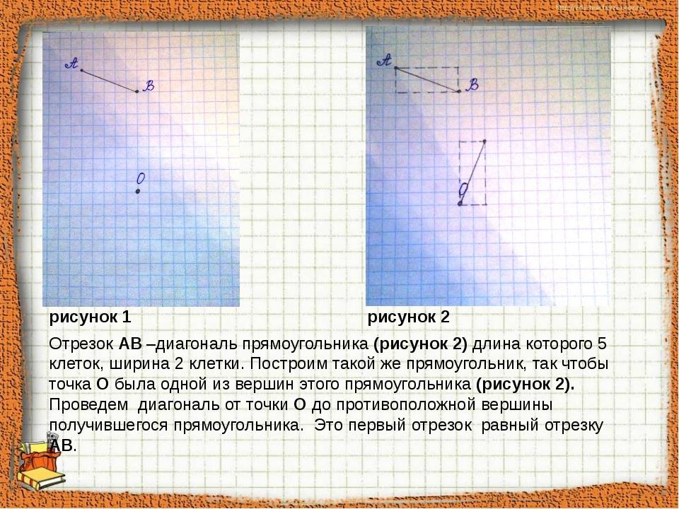 Отрезок АВ –диагональ прямоугольника (рисунок 2) длина которого 5 клеток, ши...