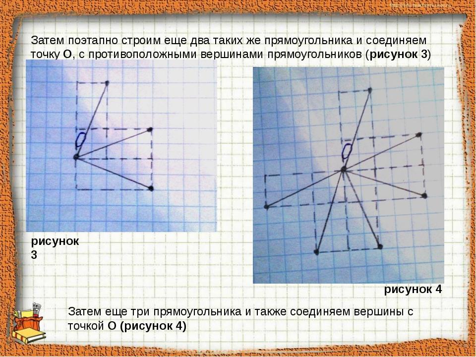 Затем поэтапно строим еще два таких же прямоугольника и соединяем точку О, с...