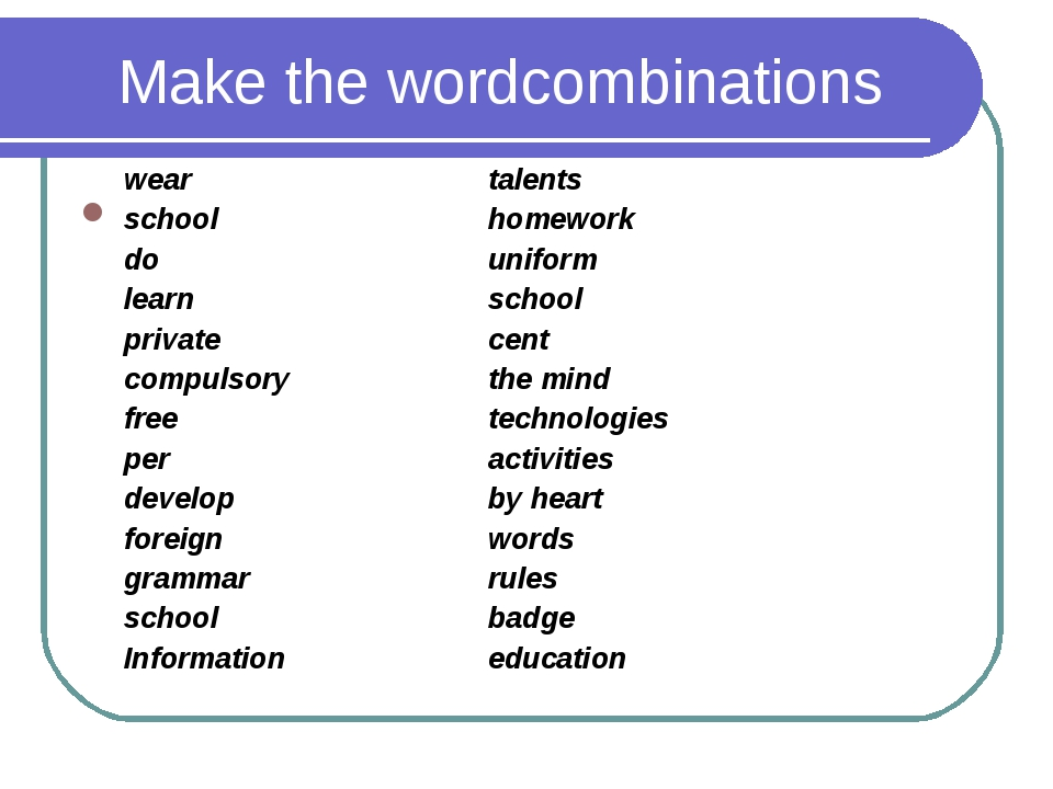 Make the wordcombinations