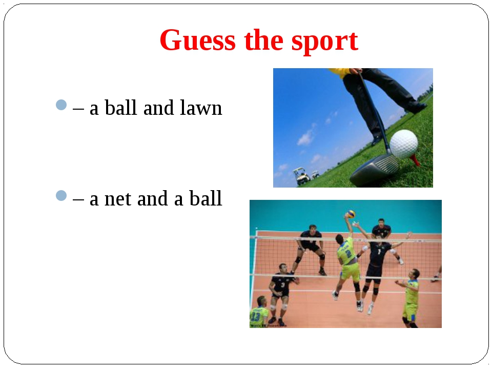 Guess the sport – a ball and lawn – a net and a ball
