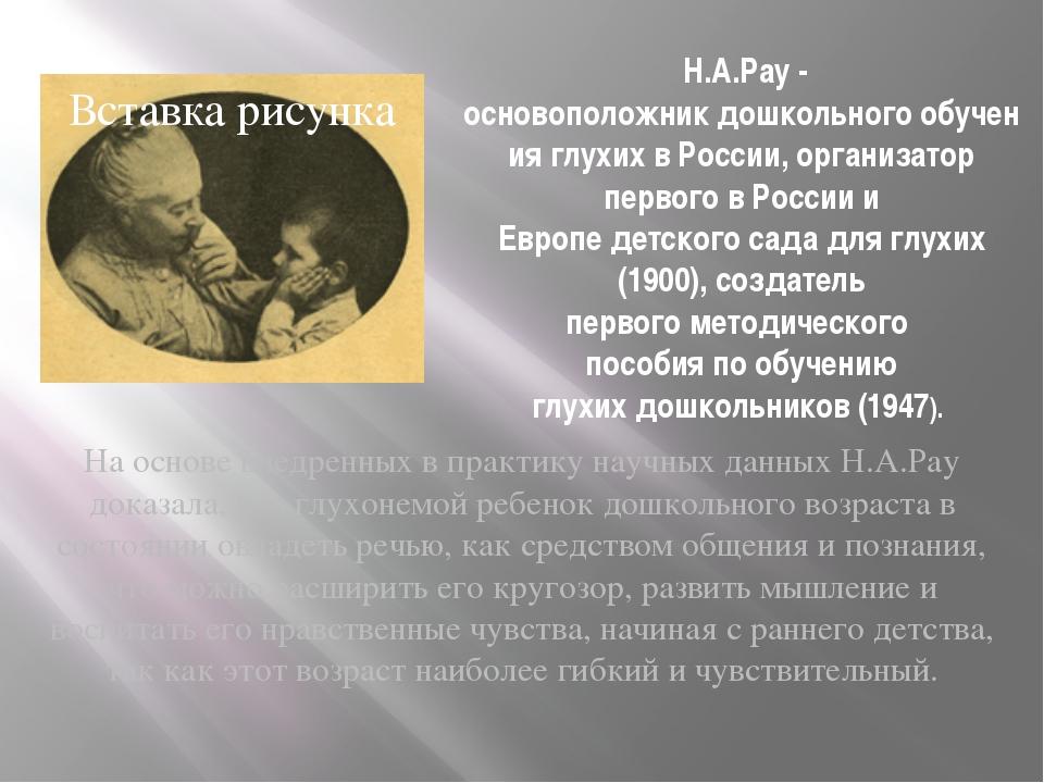 Н.А.Рау - основоположникдошкольногообучения глухих в России, организатор п...