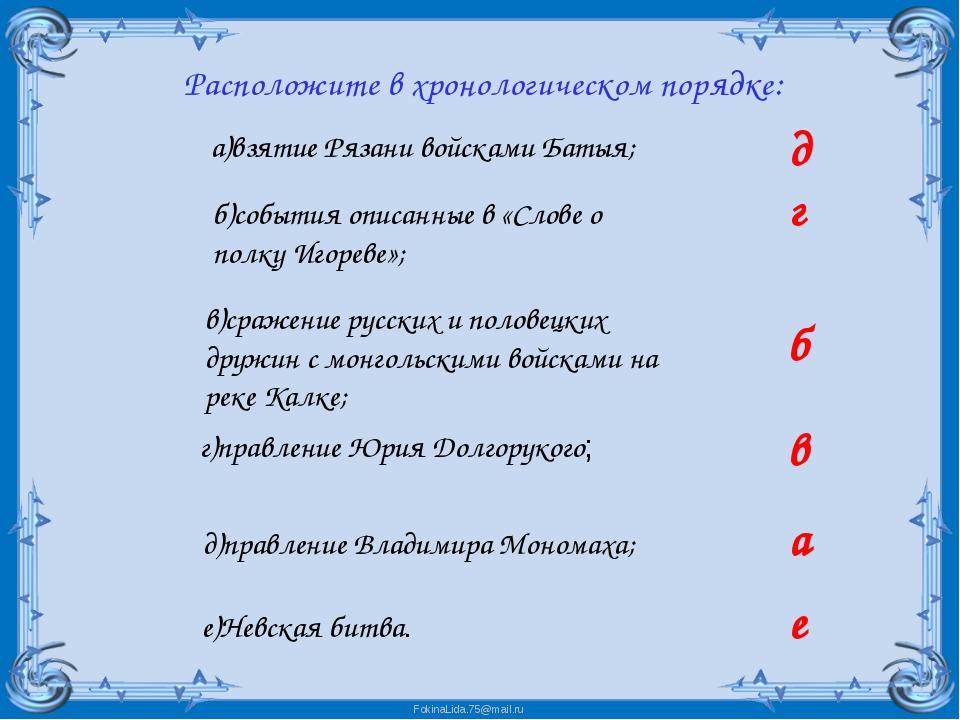 Расположите в хронологическом порядке: а)взятие Рязани войсками Батыя; б)соб...