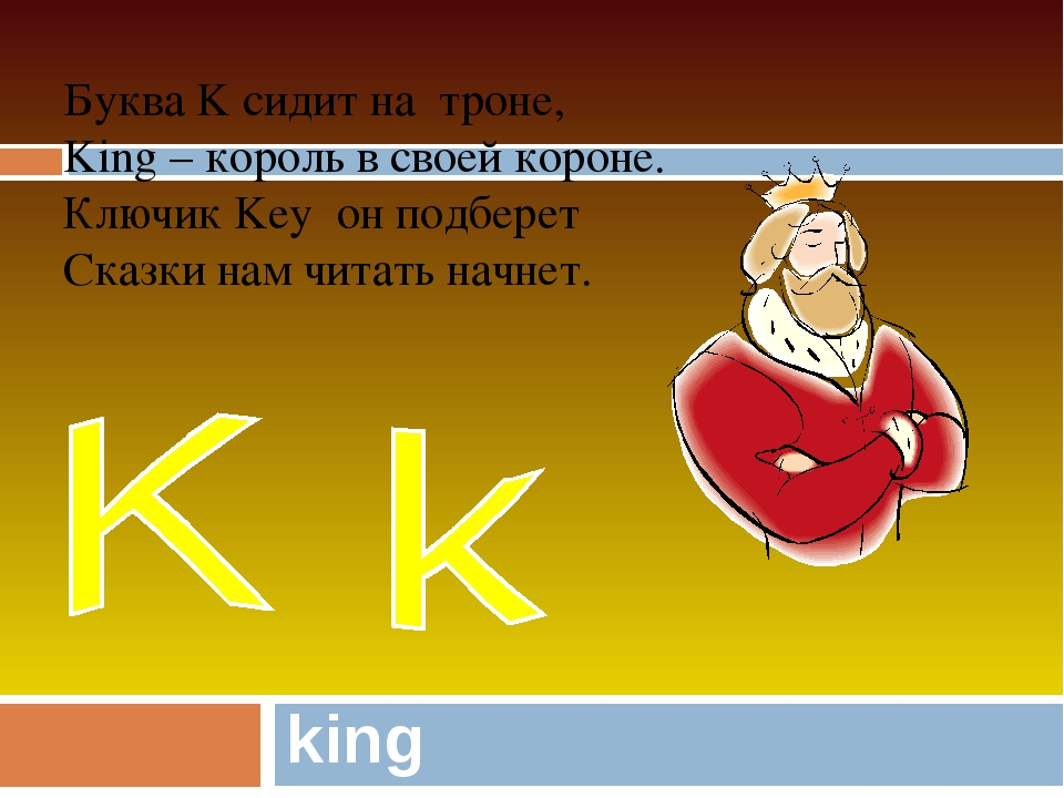 king Буква K сидит на троне, King – король в своей короне. Ключик Key он подб...
