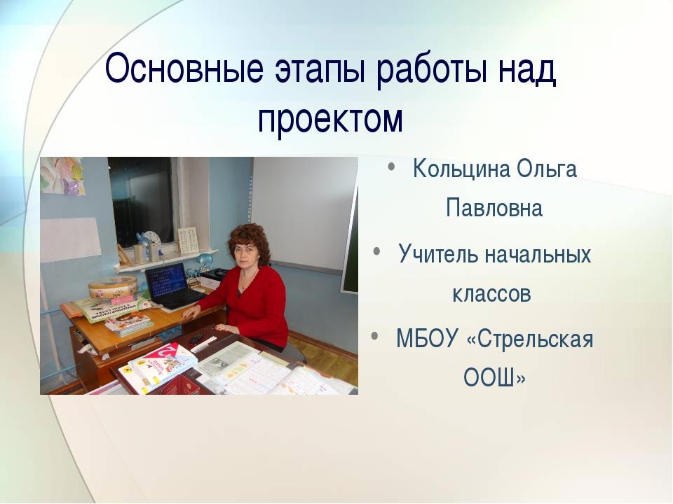 Основные этапы работы над проектом Кольцина Ольга Павловна Учитель начальных...
