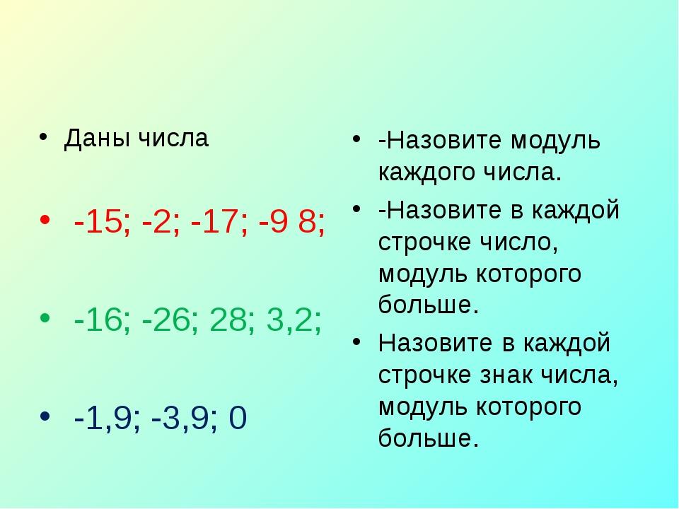 Даны числа -15; -2; -17; -9 8; -16; -26; 28; 3,2; -1,9; -3,9; 0 -Назовите мод...