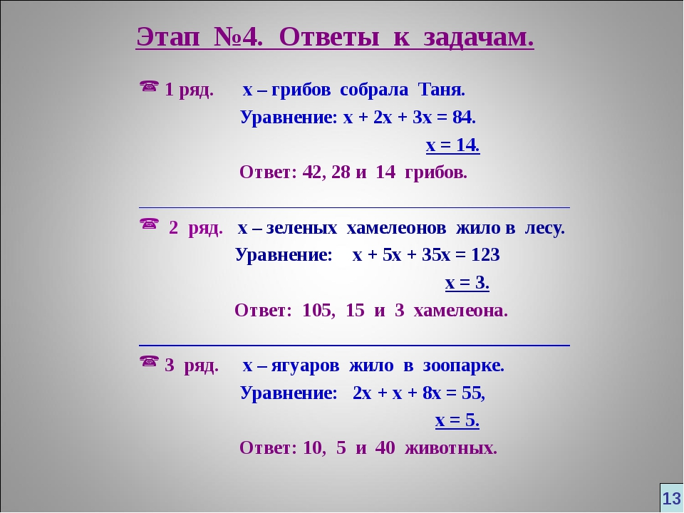 Этап №4. Ответы к задачам. 1 ряд. х – грибов собрала Таня. Уравнение: х + 2х...