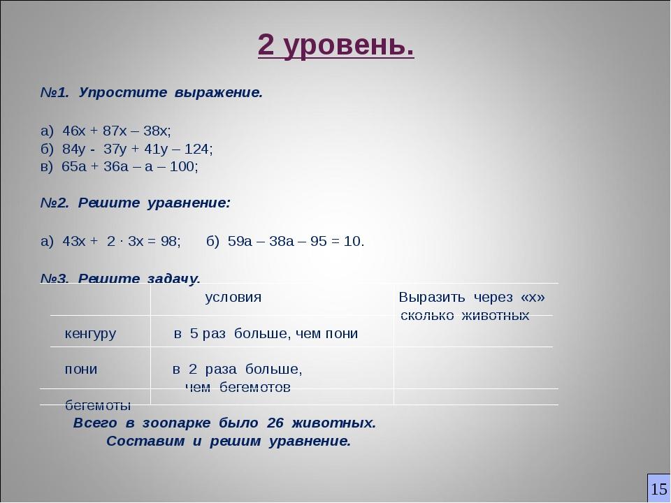 2 уровень. №1. Упростите выражение. а) 46х + 87х – 38х; б) 84y - 37y + 41y –...