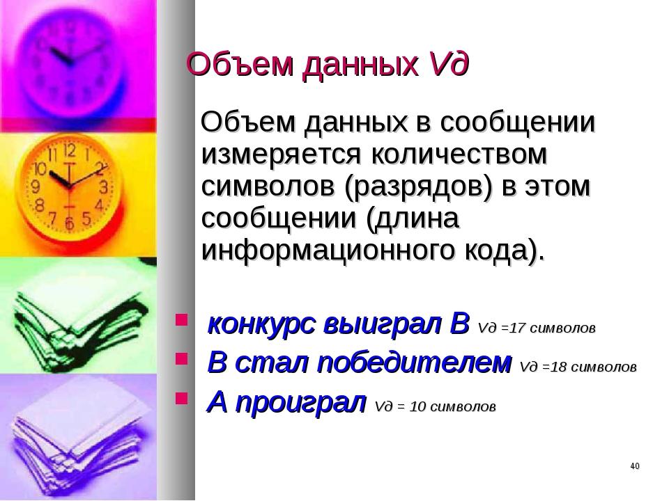 * Объем данных Vд Объем данных в сообщении измеряется количеством символов (р...