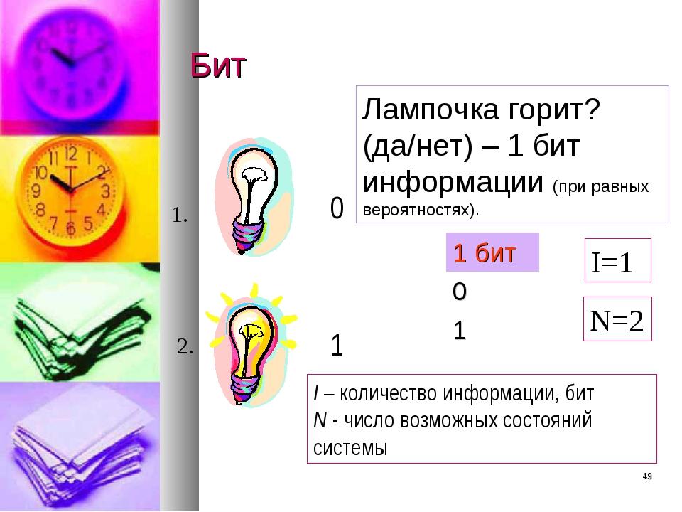 * Бит Лампочка горит? (да/нет) – 1 бит информации (при равных вероятностях)....