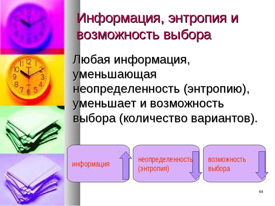 * Информация, энтропия и возможность выбора Любая информация, уменьшающая нео...