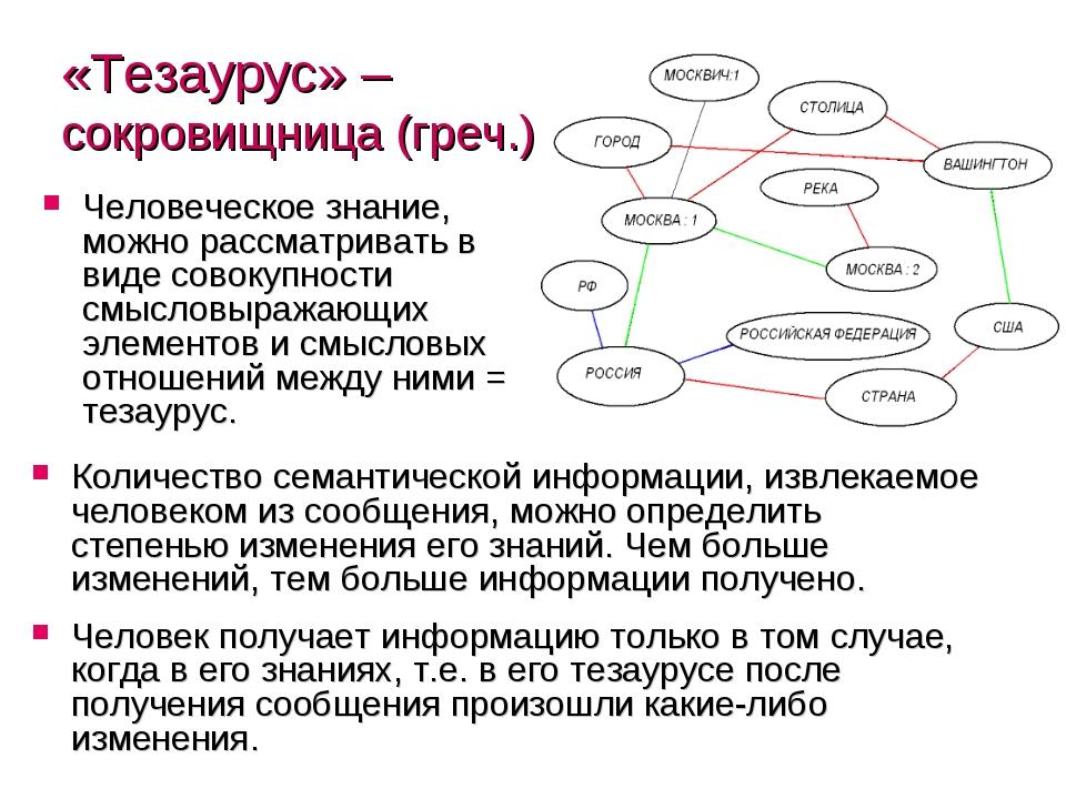 «Тезаурус» – сокровищница (греч.) Человеческое знание, можно рассматривать в...