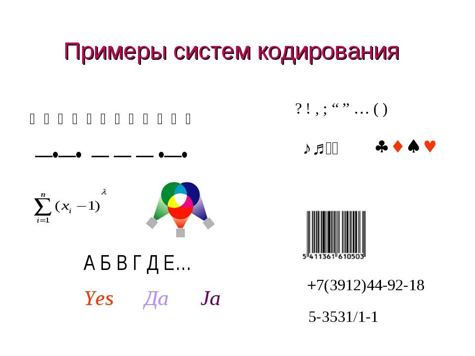 """Примеры систем кодирования —•—• — — — •—•  А Б В Г Д Е… Yes Да Ja ? ! , ; """"..."""
