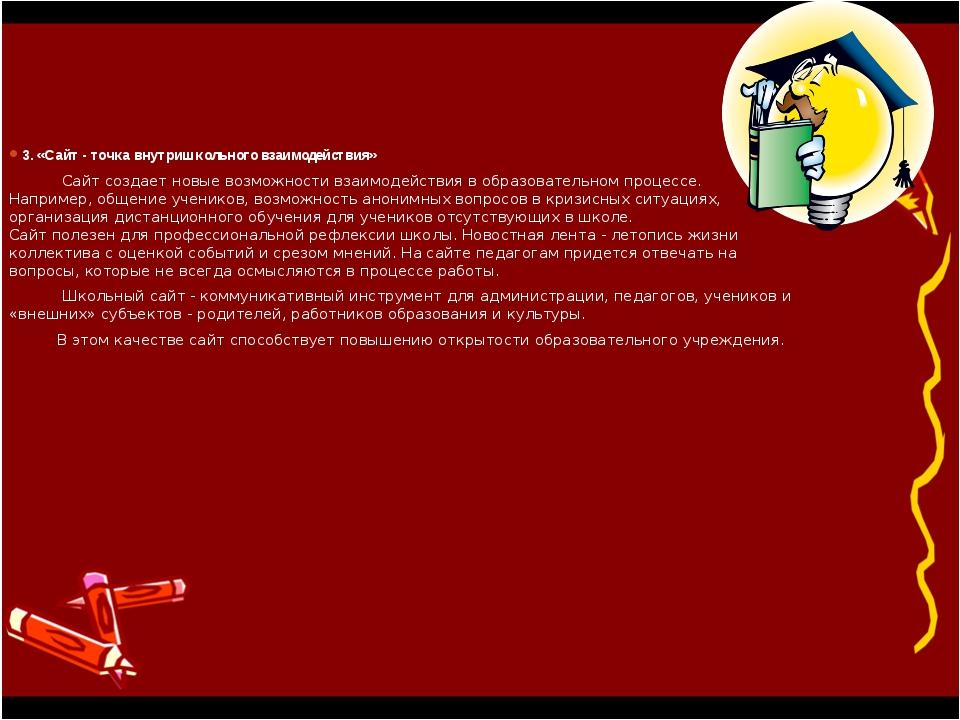 3. «Сайт - точка внутришкольного взаимодействия» Сайт создает новые возможнос...