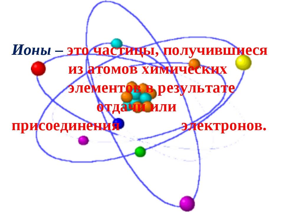Ионы– это частицы, получившиеся из атомов химических элементов в резул...