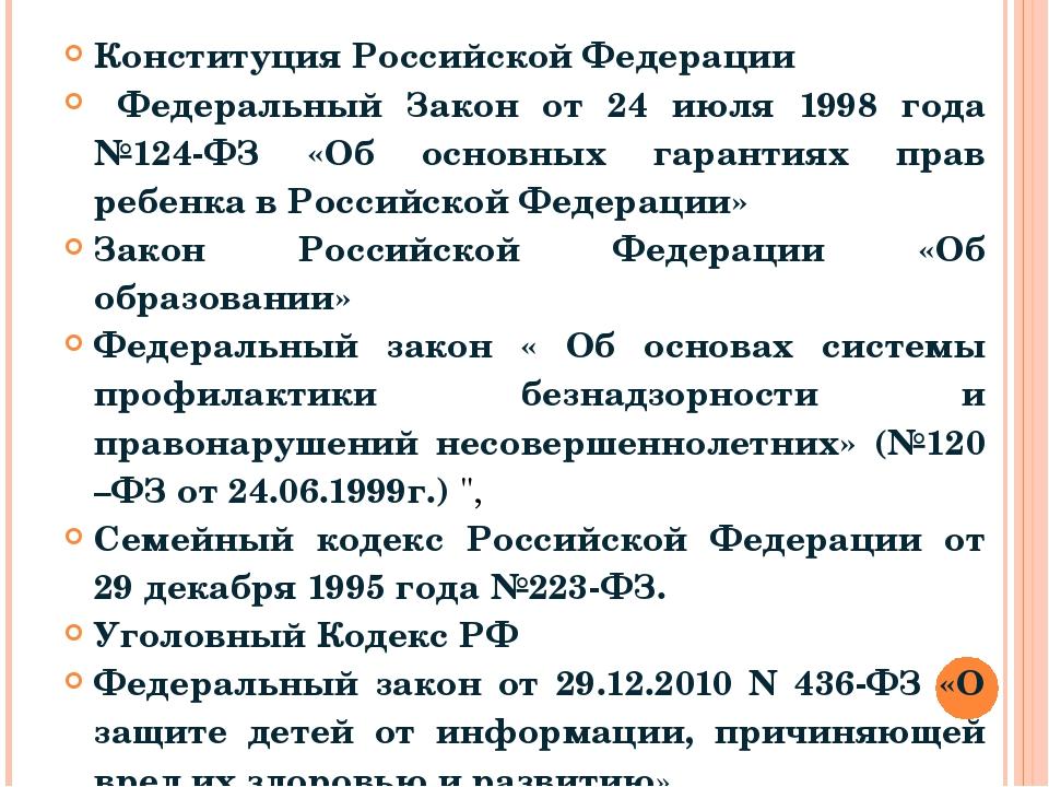 Конституция Российской Федерации Федеральный Закон от 24 июля 1998 года №124-...