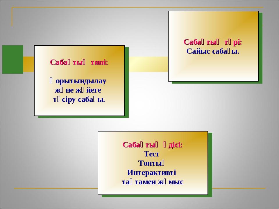 Сабақтың әдісі: Тест Топтық Интерактивті тақтамен жұмыс Сабақтың түрі: Сайыс...