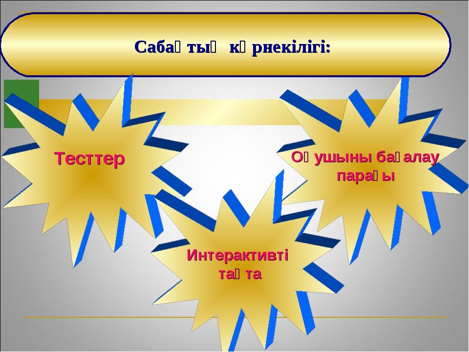Оқушыны бағалау парағы Сабақтың көрнекілігі: Тесттер Интерактивті тақта
