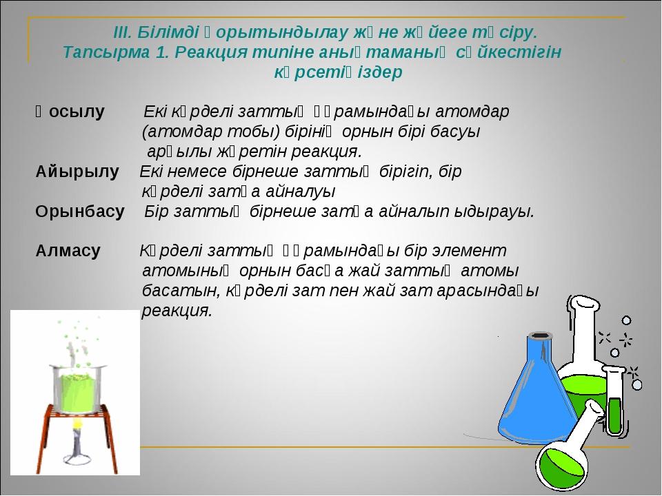 ІІІ. Білімді қорытындылау және жүйеге түсіру. Тапсырма 1. Реакция типіне анық...