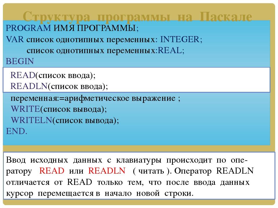 PROGRAM ИМЯ ПРОГРАММЫ; VAR список однотипных переменных: INTEGER; список одно...