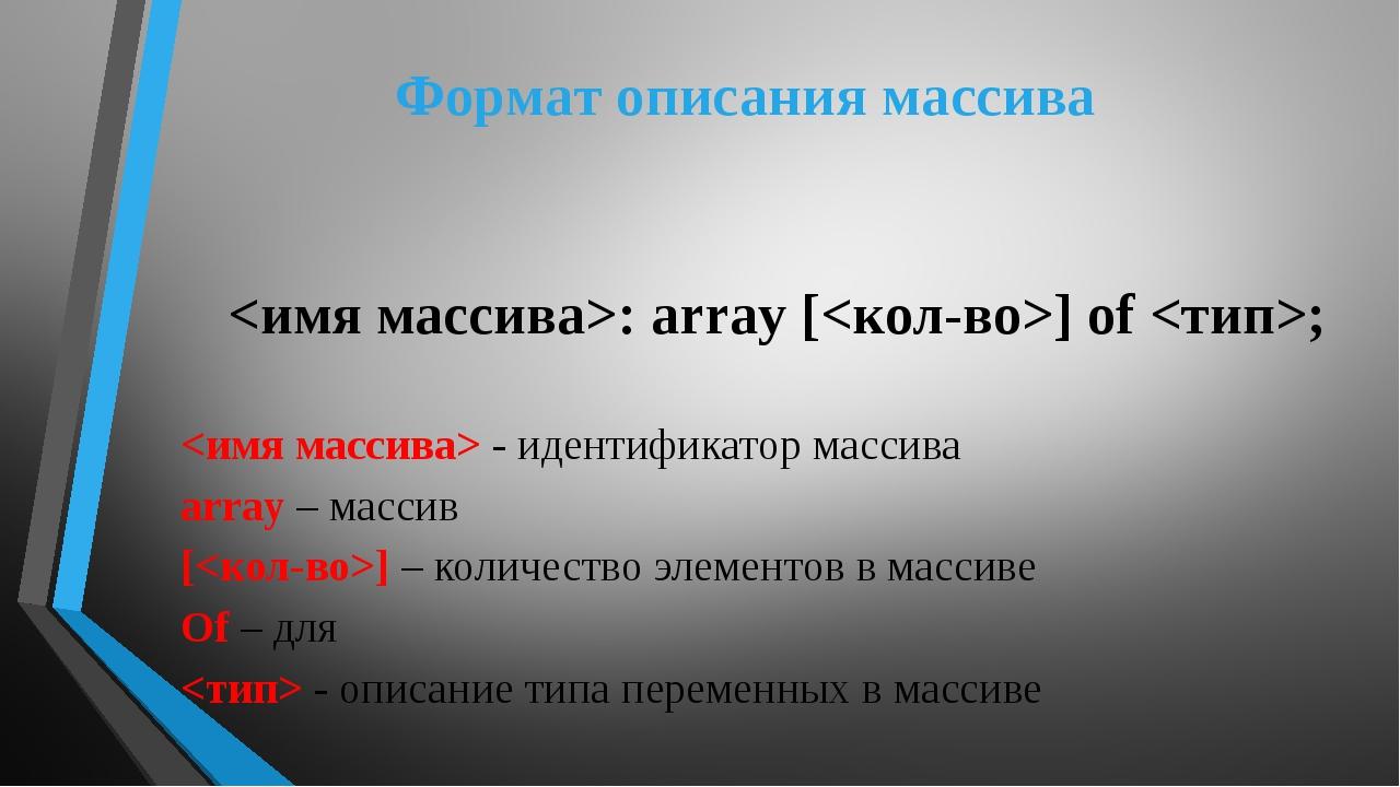 Формат описания массива : array [] of ;  - идентификатор массива array – масс...