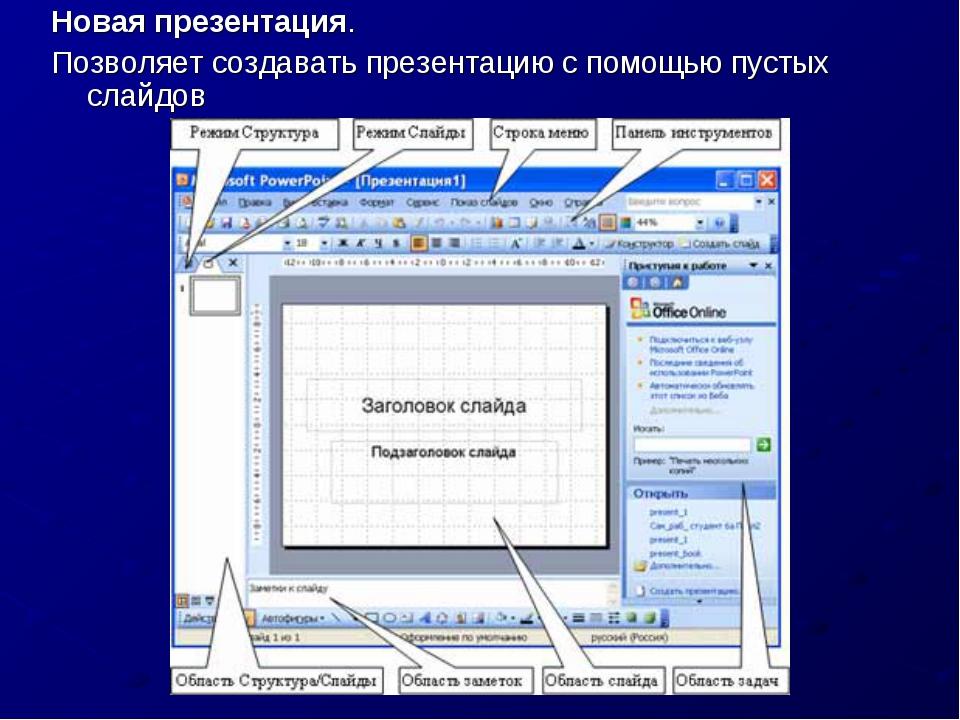 Новая презентация. Позволяет создавать презентацию с помощью пустых слайдов