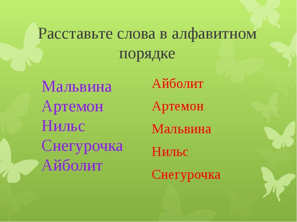 Расставьте слова в алфавитном порядке Айболит Артемон Мальвина Нильс Снегуроч...