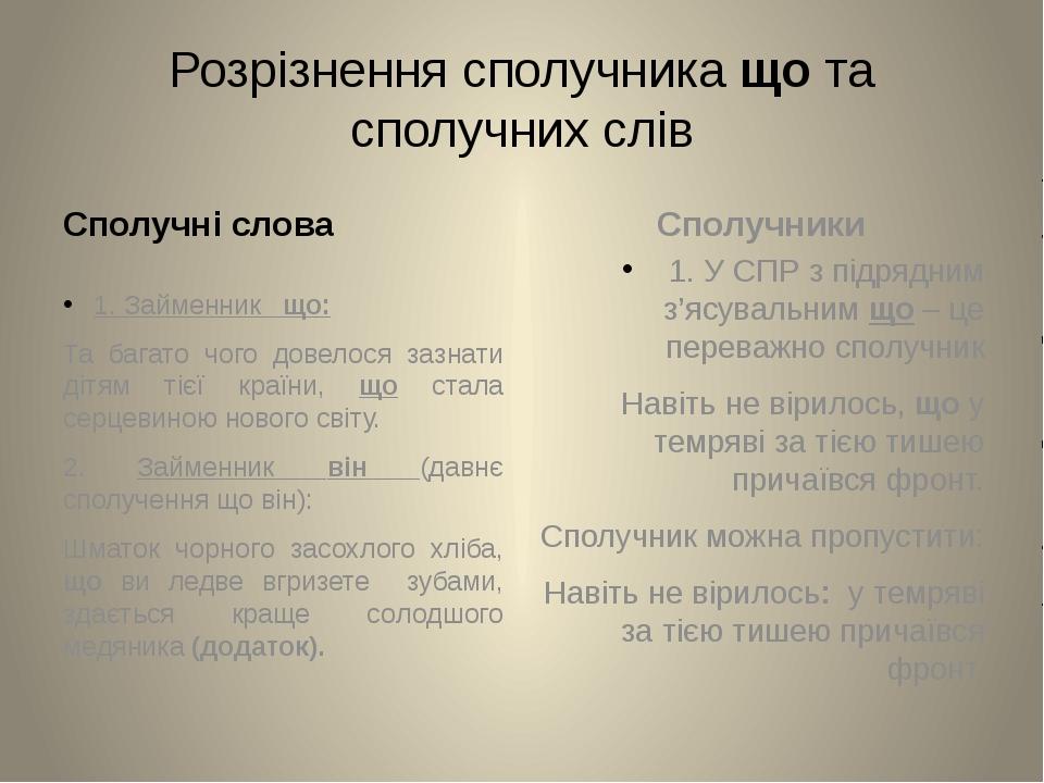 Розрізнення сполучника що та сполучних слів Сполучні слова 1. Займенник що: Т...