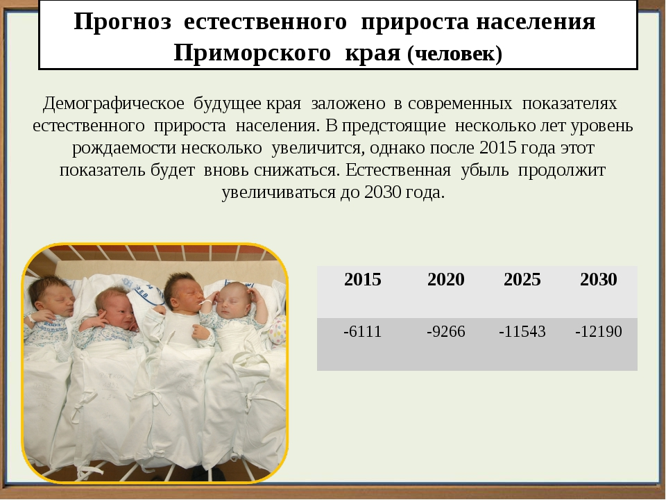 Прогноз естественного прироста населения Приморского края (человек) Демографи...