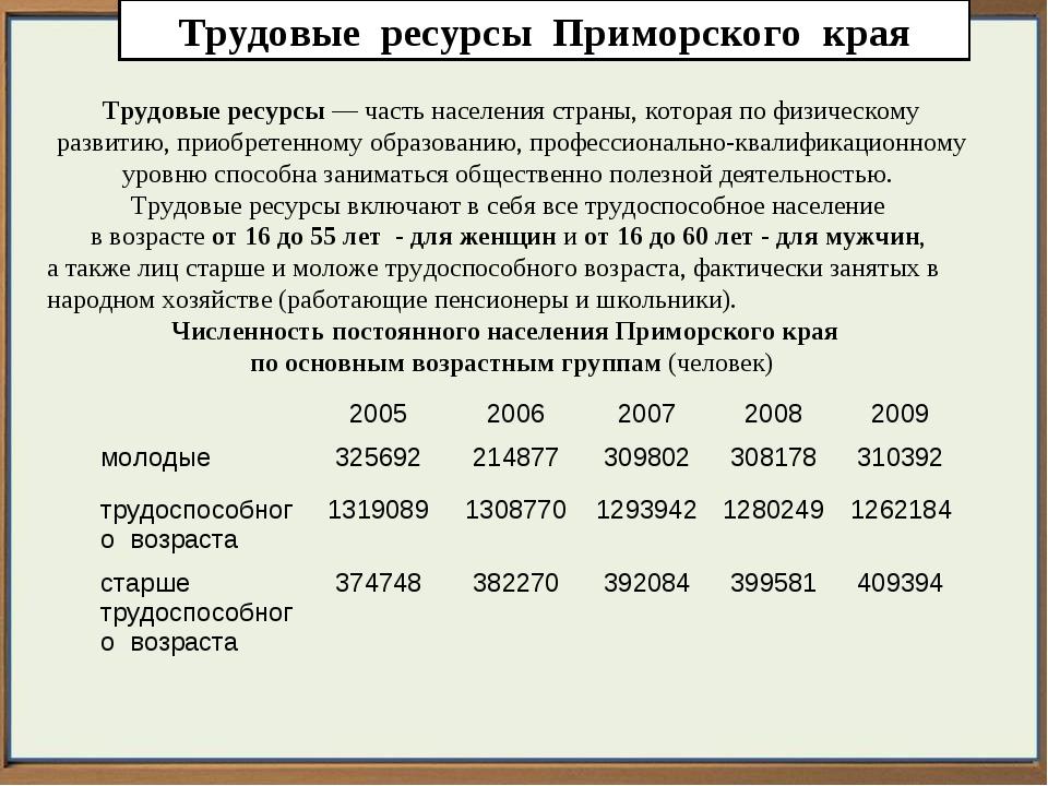 Трудовые ресурсы Приморского края Трудовые ресурсы— часть населения страны,...