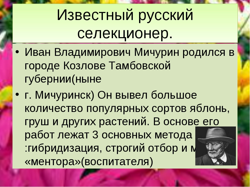 Известный русский селекционер. Иван Владимирович Мичурин родился в городе Коз...