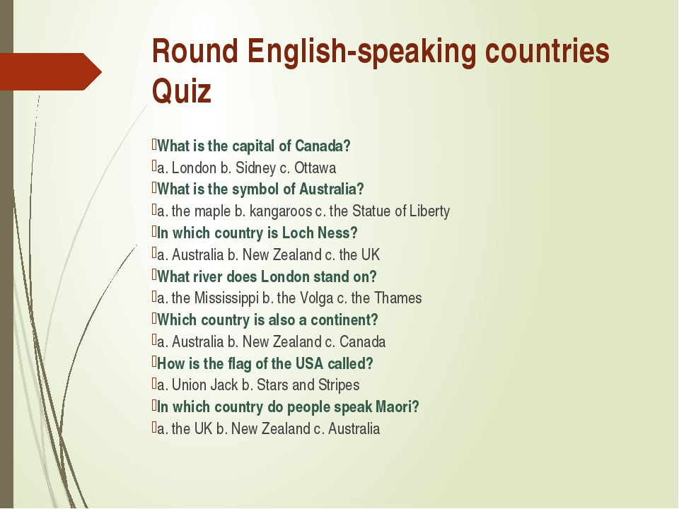Round English-speaking countries Quiz What is the capital of Canada? a. Londo...