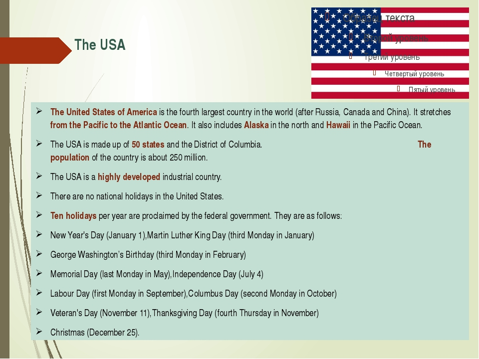 The USA The United States of America is the fourth largest country in the wor...