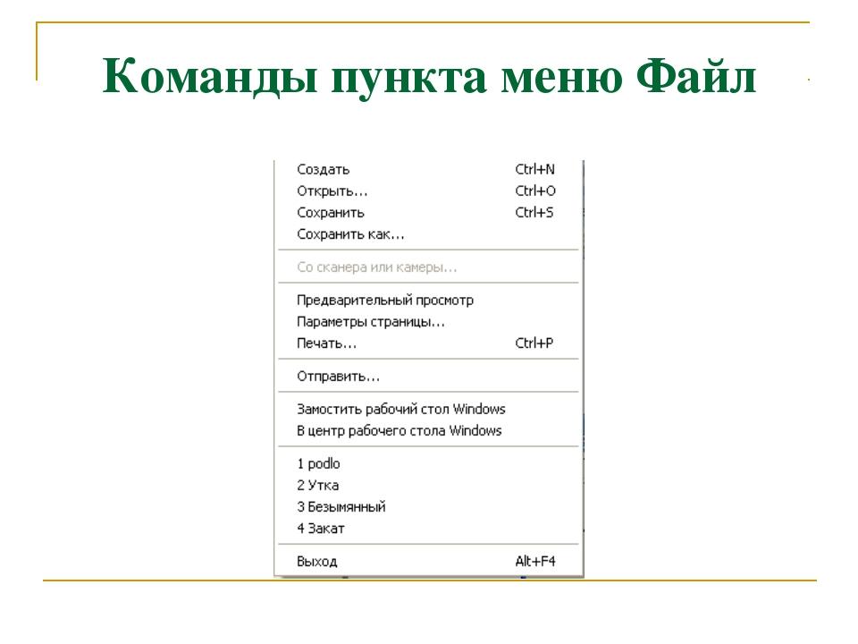 Команды пункта меню Файл