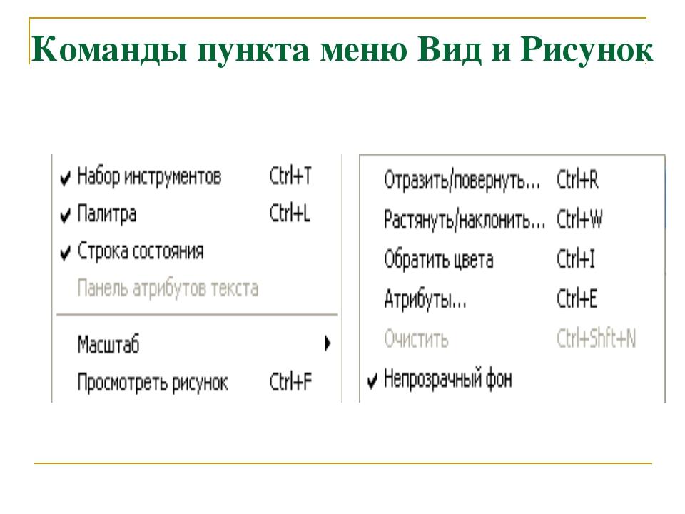 Команды пункта меню Вид и Рисунок