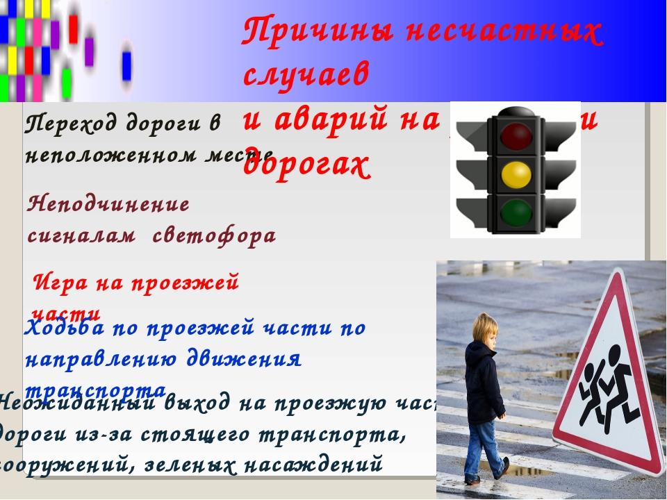Переход дороги в неположенном месте Неподчинение сигналам светофора Неожиданн...