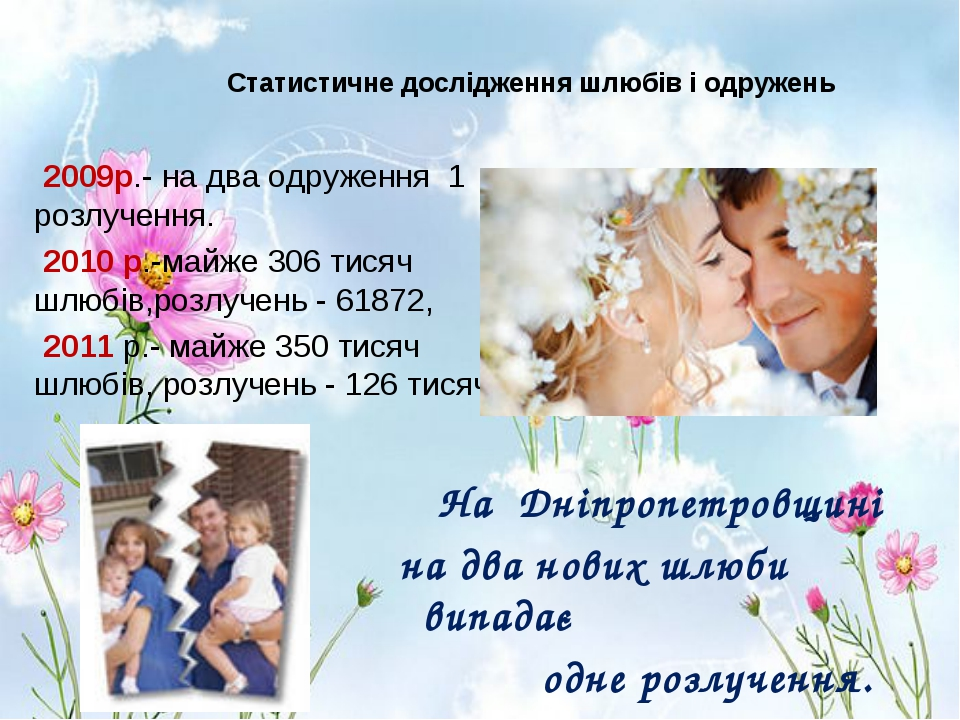 Статистичне дослідження шлюбів і одружень 2009р.- на два одруження 1 розлуче...