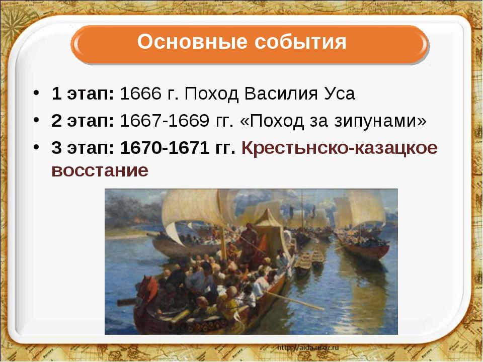 Основные события 1 этап: 1666 г. Поход Василия Уса 2 этап: 1667-1669 гг. «Пох...