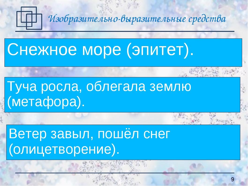 Снежное море (эпитет). Туча росла, облегала землю (метафора). Ветер завыл, по...