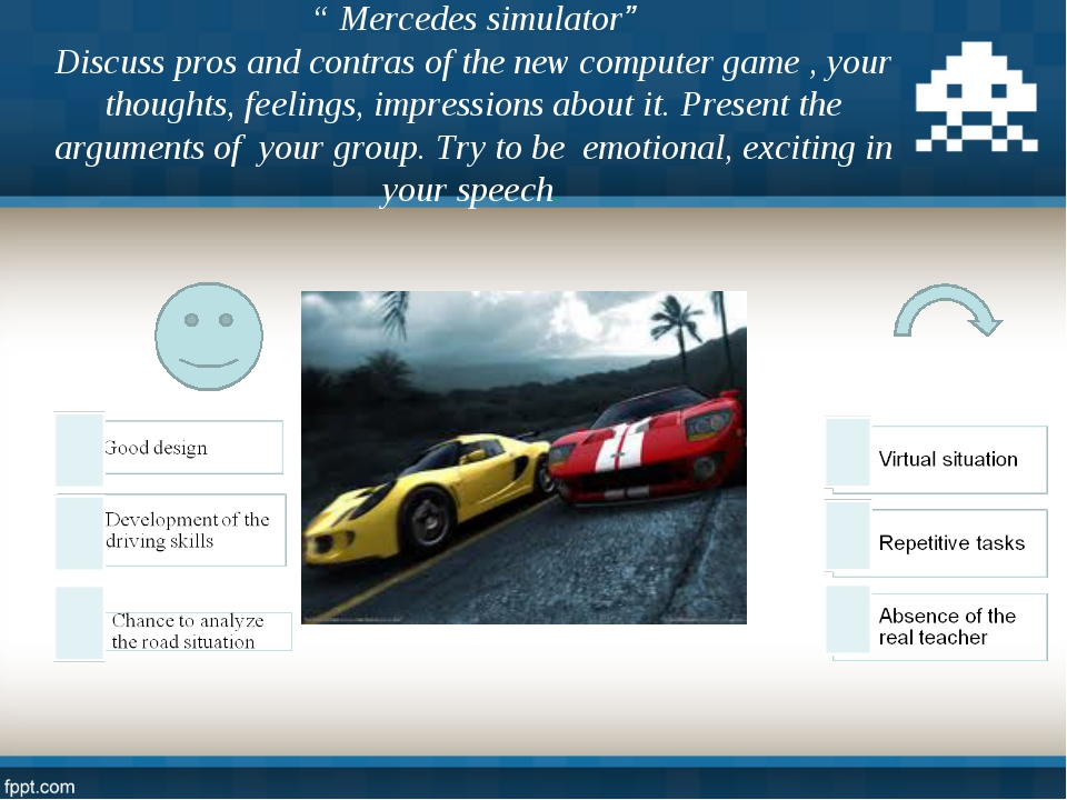 """"""" Mercedes simulator"""" Discuss pros and contras of the new computer game , you..."""