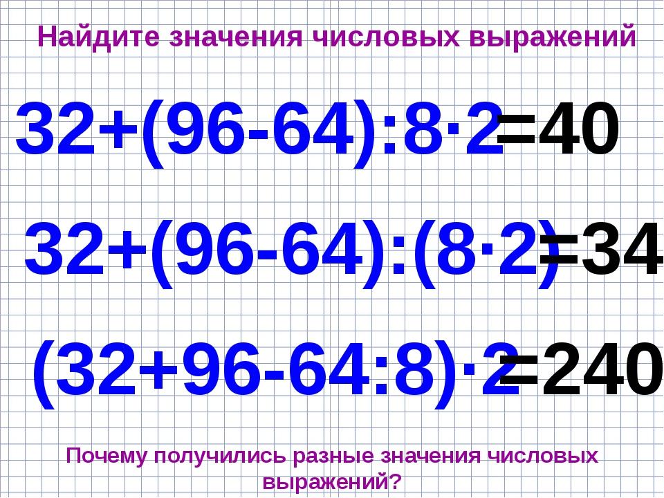Найдите значения числовых выражений 32+(96-64):8·2 32+(96-64):(8·2) (32+96-64...
