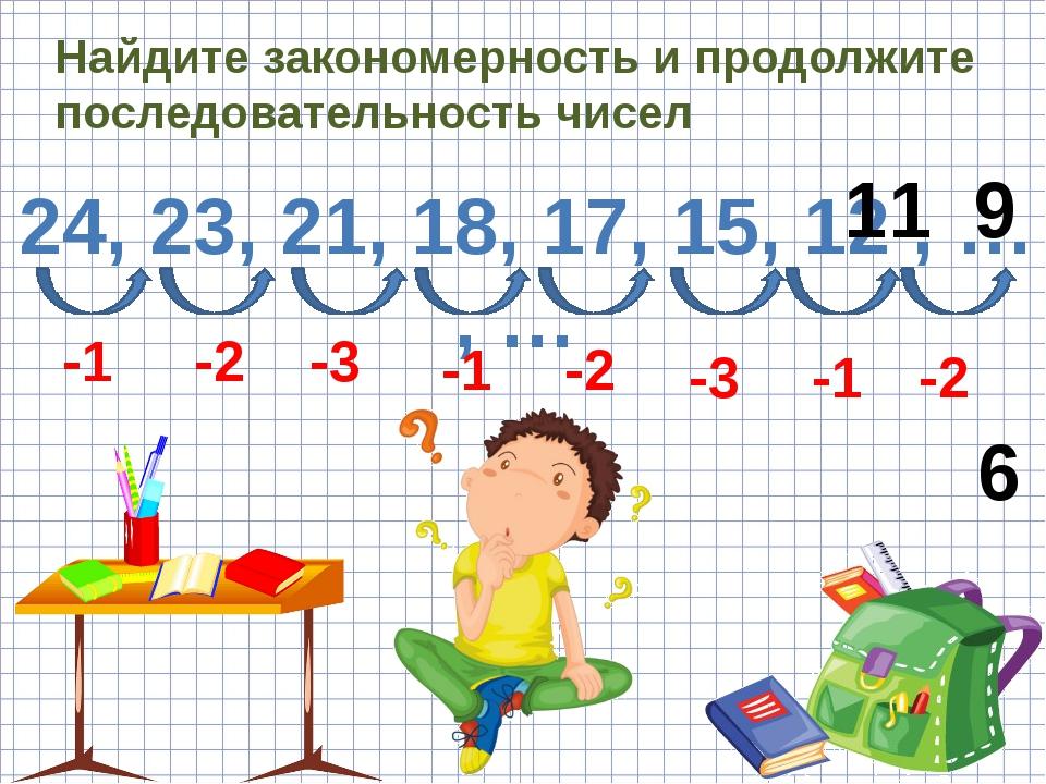Найдите закономерность и продолжите последовательность чисел 24, 23, 21, 18,...