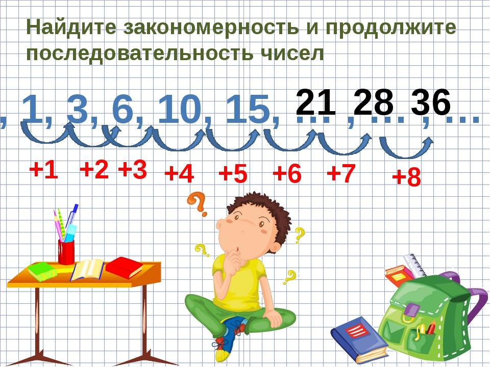 Найдите закономерность и продолжите последовательность чисел 0, 1, 3, 6, 10,...
