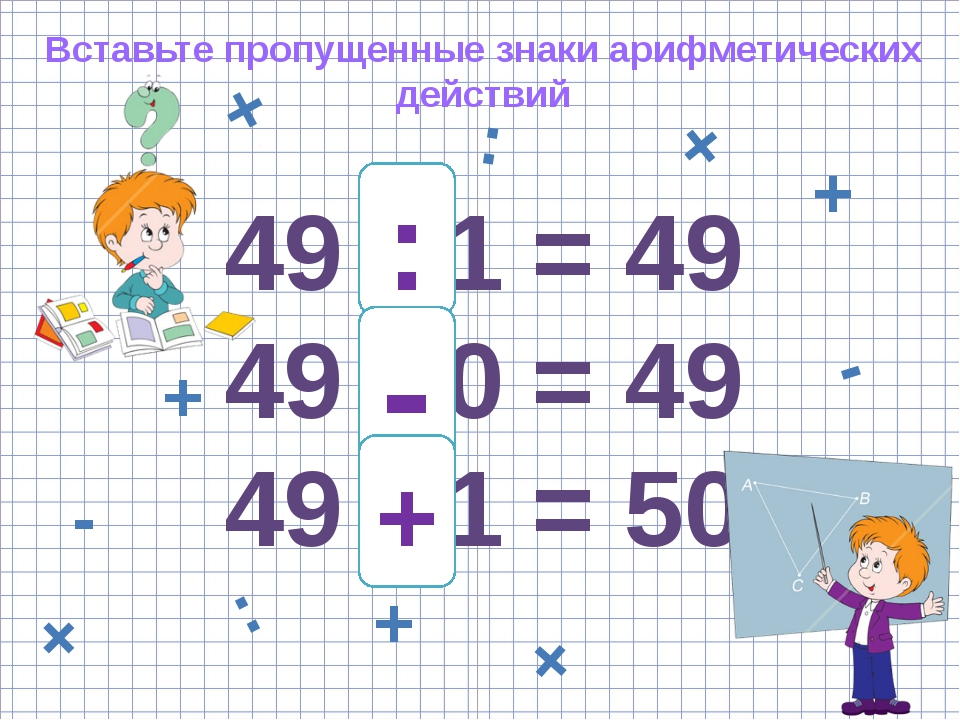 49 * 1 = 49 49 * 0 = 49 49 * 1 = 50 • : + - + Вставьте пропущенные знаки ариф...