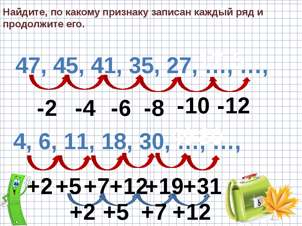 Найдите, по какому признаку записан каждый ряд и продолжите его. 47, 45, 41,...