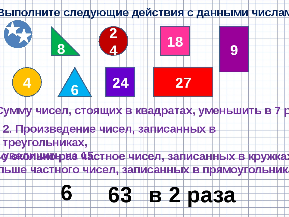 Выполните следующие действия с данными числами 8 6 24 4 24 18 27 9 1. Сумму ч...