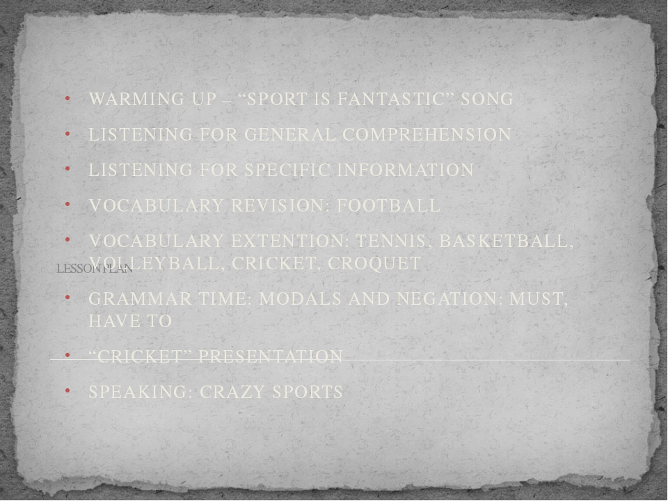 "LESSON PLAN WARMING UP – ""SPORT IS FANTASTIC"" SONG LISTENING FOR GENERAL COMP..."